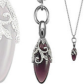 Jewelco London Sterling Silver Encrusted floral teardrop Charm Necklace