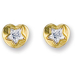Jewelco London 9ct Yellow Gold heart design studs set with star shaped CZ stone