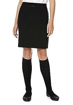 F&F School PU Trim Stretch Skirt - Black