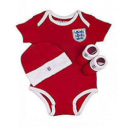 England Football Baby 3 Piece Gift Set, Bodysuit, Booties & Hat - Red