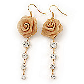 Gold Plated Mesh Crystal 'Rose' Drop Earrings - 8cm Length