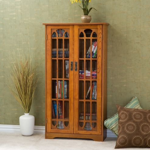 Southern Enterprises Oak Windowpane Media Cabinet