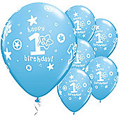 11' 1st Birthday Circle Stars Boy (6pk)