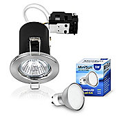 Pack of Ten MiniSun Fire Rated 5W Daylight LED GU10 Downlights in Brushed Chrome