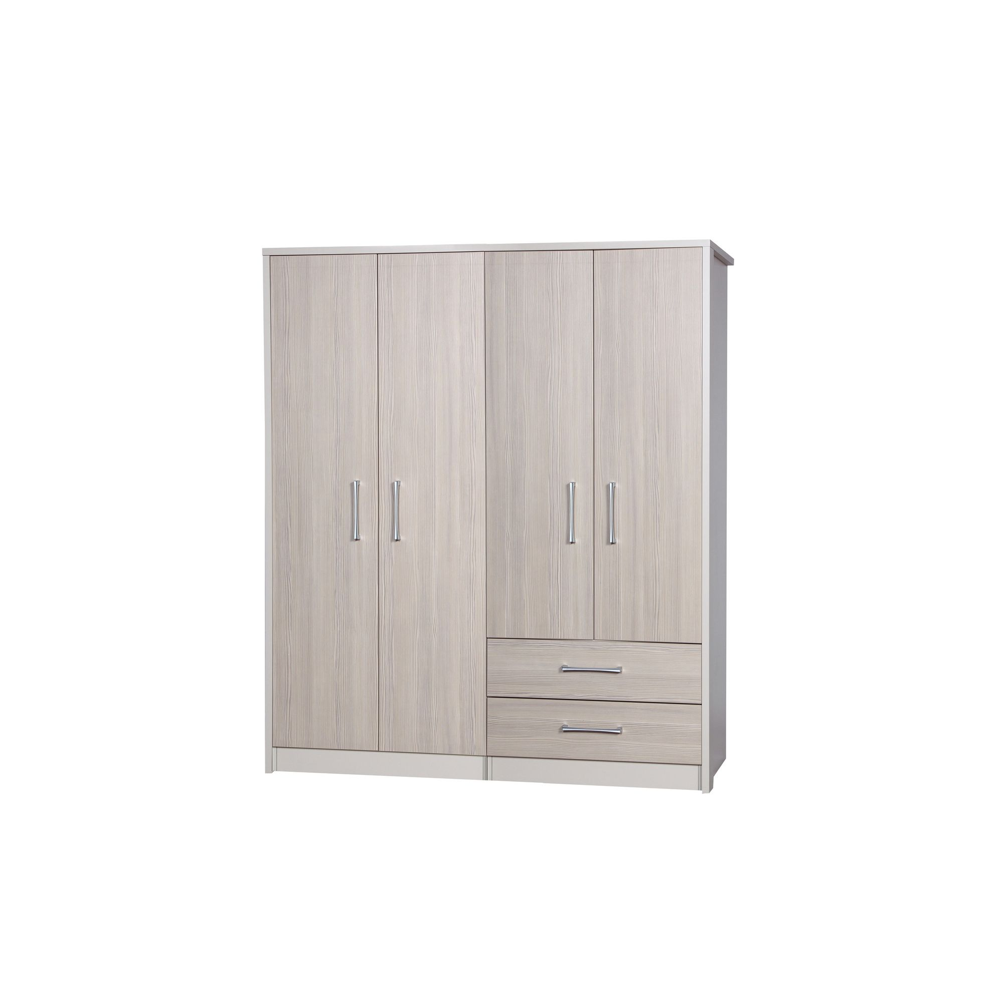 Alto Furniture Avola 4 Door Combi and Regular Wardrobe - Cream Carcass With Champagne Avola at Tesco Direct