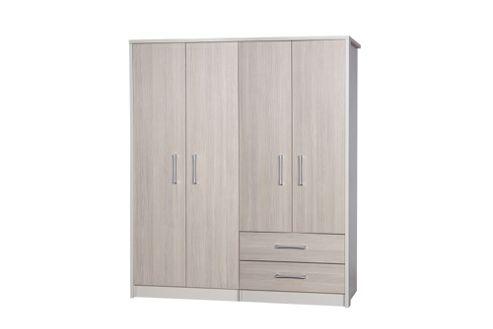 Alto Furniture Avola 4 Door Combi and Regular Wardrobe - Cream Carcass With Champagne Avola