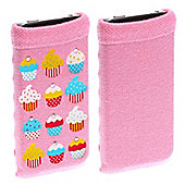Trendz Fabric Sock for Universal Smartphone Devices - Pink Diamante Cupcakes