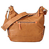 OiOi Soft Tan Leather Hobo Bag with Tangerine Trim