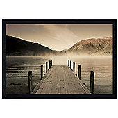 Peaceful Lakeside Scene Black Wooden Framed Jetty at Lake Rotoiti Poster