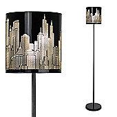 New York Skyline LED Floor Lamp in Gloss Black