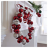 Red/White Jingle Bell Wreath - 27cm