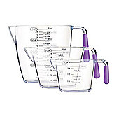 Colourworks Three Piece Measuring Jug Set (200ml/400ml/900ml) Purple