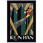 Black Wooden Framed Marvel Deco Iron Man Poster