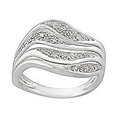 Gemondo Sterling Silver 5.6pt Diamond Floral Swirl Ring Moonlit Collection