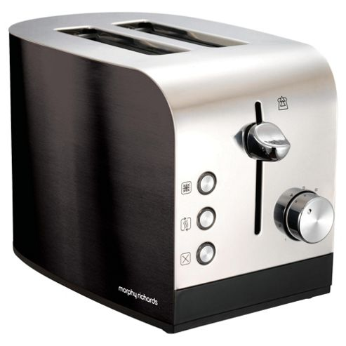 Morphy Richards 44209 Accents 2 Slice Toaster - Black & Stainless Steel