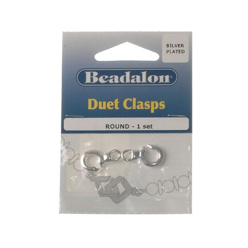 Beadalon Duet Clasp Round Silver Plate 1Set