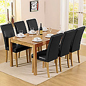 Mark Harris Solid Oak and Black Dining Set with 6 Chairs