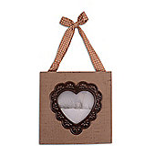 Brown Rustic Wooden Square Photo Frame With Heart Cut Out 3.5 x 3.5""