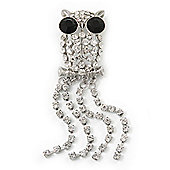 Clear Crystal 'Owl' With Dangling Tail Brooch In Rhodium Plating - 8.5cm Length