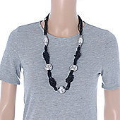 Black Glass Bead With Hammered Metal Station Long Necklace In Silver Tone Finish - 70cm Length/ 7cm Extension