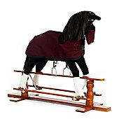 Large Rocking Horse Shadow With Burgundy Rug