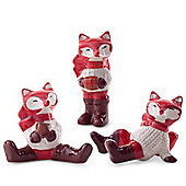 Set of 3 Ceramic Christmas Fox Ornament Figurines