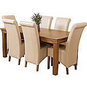 French Chateau Rustic Solid Oak 180 cm Dining Table with 6 Ivory Montana Leather Chairs