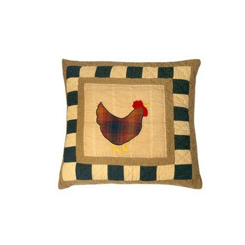 Woven Magic Primitive Sampler Antique Plaids Rooster Cushion