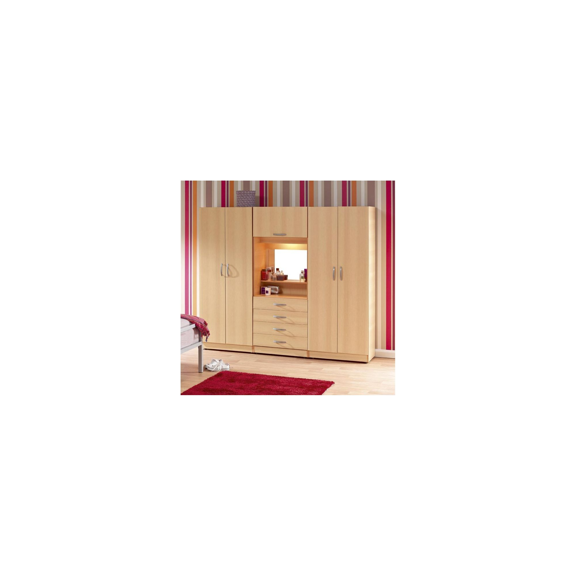 Ideal Furniture Budapest 4 door Wardrobe with drawers - Beech at Tesco Direct