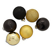 Set of Twelve Assorted Black & Gold Christmas Tree Baubles