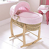 Clair de Lune Honeycomb Palm Moses Basket - Pink