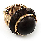 Dome Brown Wood Stretch Ring (Gold Tone)