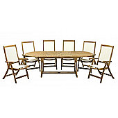 Hampton 7pc Reclining Set with Ivory Parasol - FSC® Hampton Oval 2 Leaf Extension 170/205/240x100cm