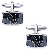 Black and Grey Flare Enamel Cufflinks - By Aston Brown