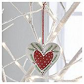 Gisela Graham Scandi Painted Tin Heart Hanging Decoration, White Border