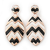 Black, White Enamel 'Leaf' Drop Earrings In Gold Plating - 60mm Length
