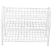 Tesco 3 Tier Metal Shoe Rack, White