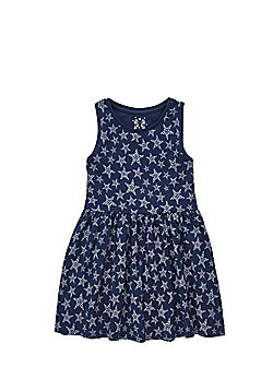 F&F Star Print Sleeveless Jersey Kater Dress - Blue