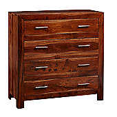 Indian Hub Cube Sheesham Two Over Three Drawers Chest