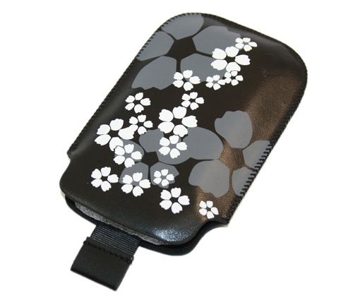 iTALKonline 20801 Black White Flower Slip Pouch Protective Case with Pull Tab - BlackBerry 8520 Curve, 9300 3G, 9700 Bold, 9780 Onyx