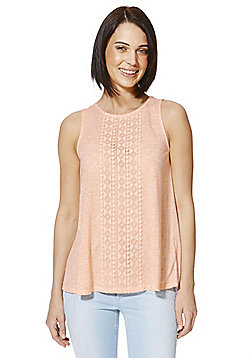 F&F Crochet Panel Swing Vest - Pink