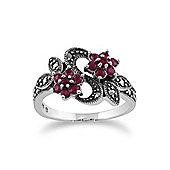 Gemondo Sterling Silver Art Nouveau 0.58ct Ruby & Marcasite Flower Ring