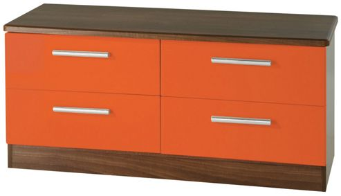 Welcome Furniture Knightsbridge 4 Drawer Chest - Walnut - Tangerine