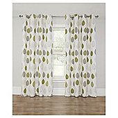 Leaf Printed Lined Eyelet Curtains - Green - 66 X 72