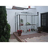Elite Windsor Lean To Greenhouse – 4 x 6 - Natural Aluminium Finish + Base + Bundle – Toughened Glass