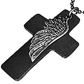 Urban Male Black Leather Cross & Stainless Steel Feather Necklace With Chain