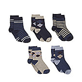 Mothercare Blue Argyle Socks- 5 Pack - Blue
