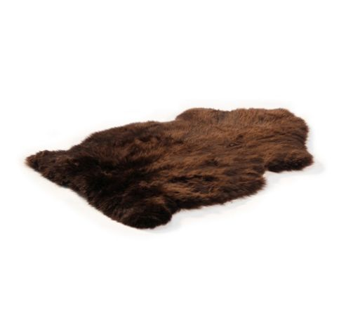 Bowron Sheepskin Long Wool Gold Star Rug in Chocolate - 95cm H x 57cm W (One Piece)