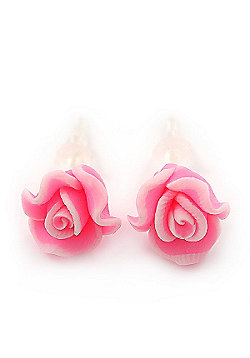 Children's Pretty Light Pink Acrylic 'Rose' Stud Earrings With Acrylic Backings - 9mm Diameter