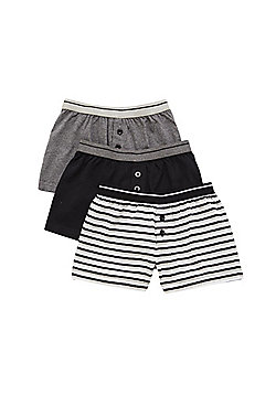 F&F 3 Pack of Striped and Plain Trunks - Black